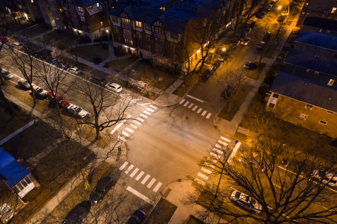 here s what chicago s new led street lamps look like from the sky