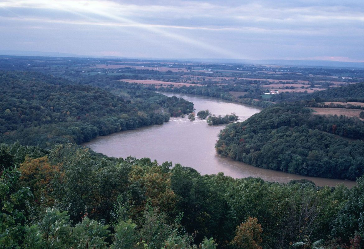 The Ohio river running between Ohio and West Virginia