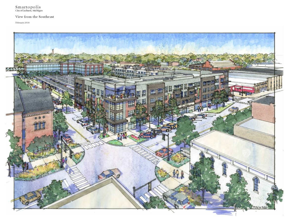A rendering shows the vision for a smart energy district in Jackson, Michigan