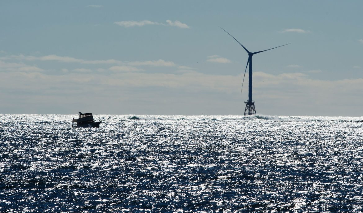boat and offshore wind turbine