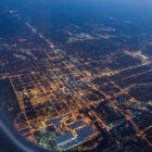 Lansing, Michigan, at night, from above