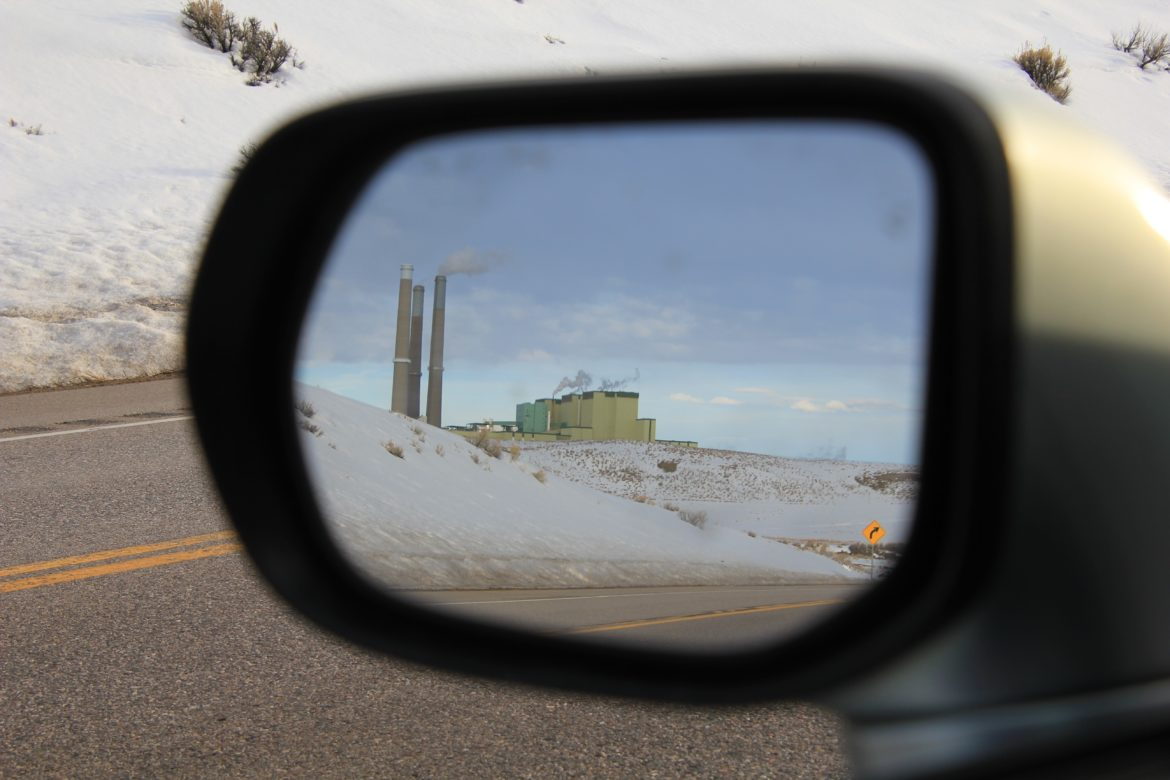 colorado power plant in rear view mirror
