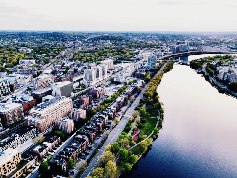 An aerial view of the Boston University campus on the Charles River
