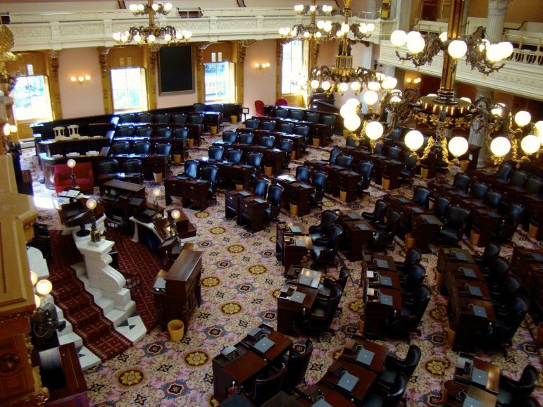 Inside the Ohio Senate chamber from above.