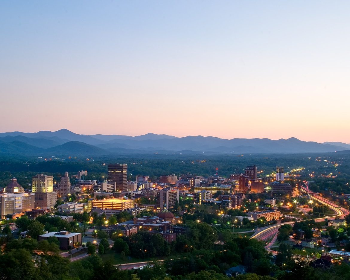 Downtown Asheville, North Carolina, at dusk