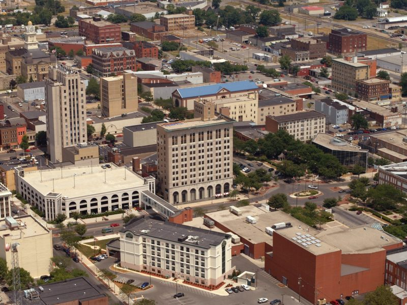 An aerial view of downtown Lima, Ohio.