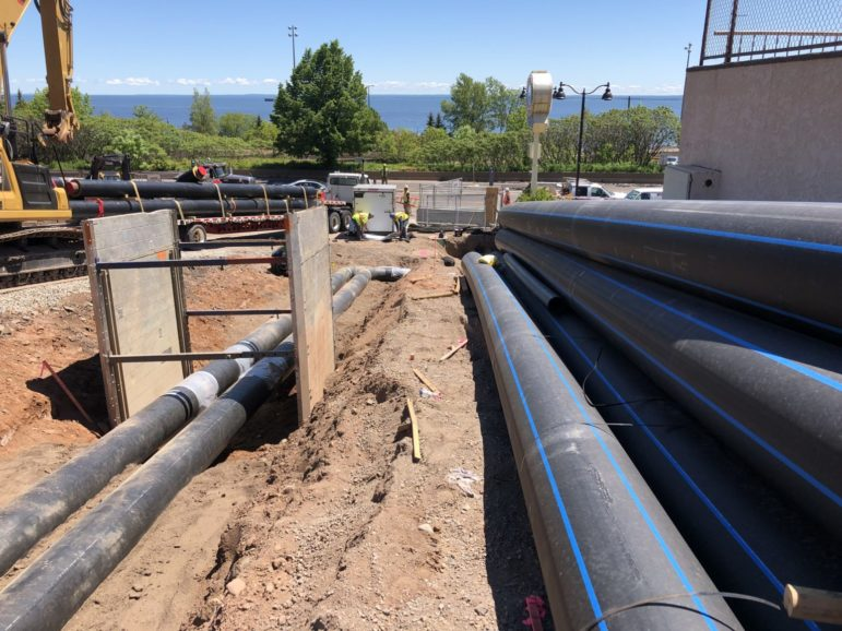 Distribution pipes being installed on Superior Street in Duluth.