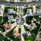An aerial view of a neighborhood cul de sac.