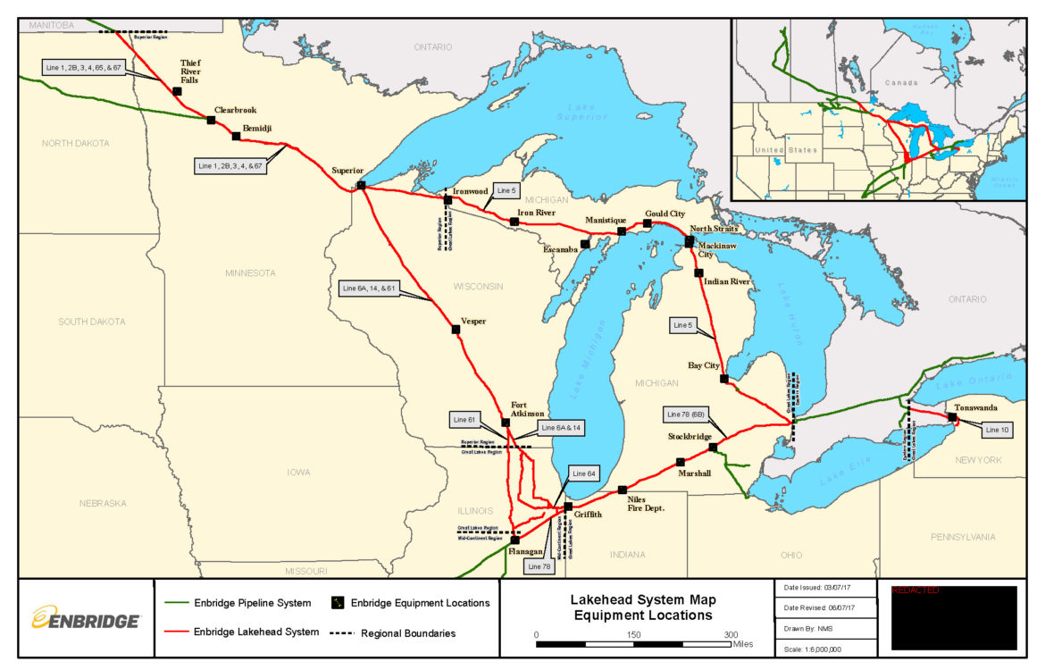 A map of the Great Lakes region shows a network of Enbridge pipelines: Line 5 cuts east and then south around Lake Michigan, Line 61 runs south from Superior into Illinois before connecting with smaller lines that cross Indiana and Michigan and ultimately reach Sarnia, Ontario.