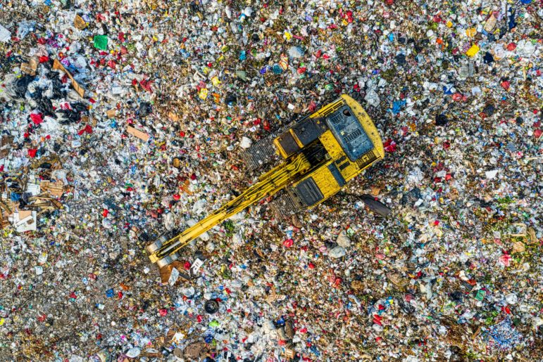 Bird's eye view of a landfill.