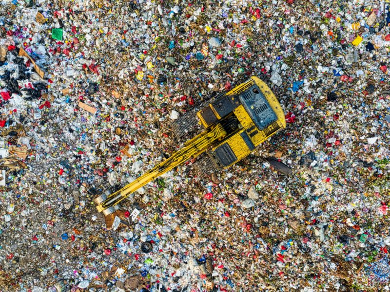 Bird's eye view of a landfill.